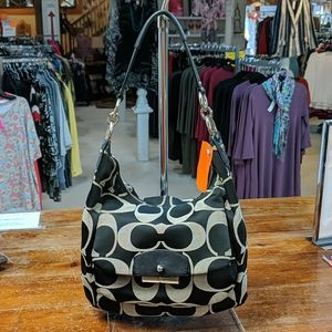 Coach hobo signature bag in gray and black